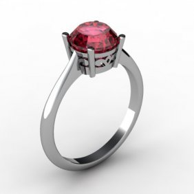 Garnet 1.60 ctw Ring 14kt White Gold