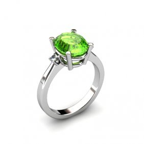 Peridot 2.50 Ctw Diamond Ring 14kt White Gold