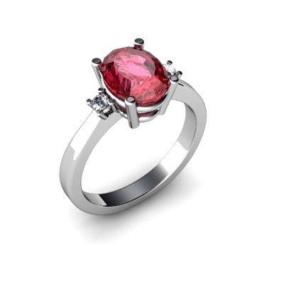 Garnet 2.10 ctw Diamond Ring 14kt White Gold