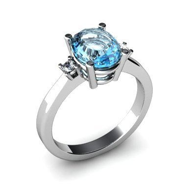 Topaz 2.50 ctw Diamond Ring 14kt White Gold