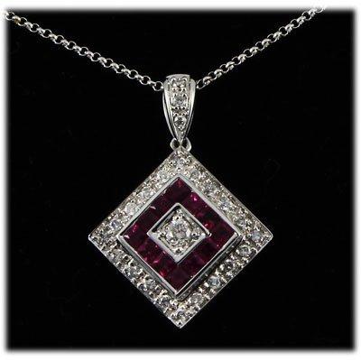 Genuine 1.43ctw Ruby Diamond Necklace 14kt W/G 5.36g