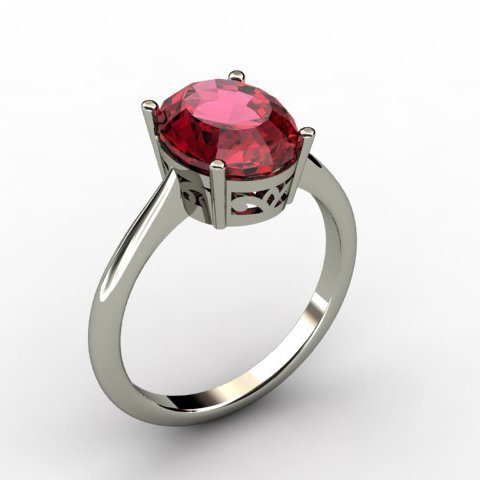 Garnet 2.80 ctw Ring 14kt White Gold