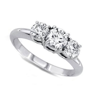 1.00 ctw Round cut Three Stone Diamond Ring, G-H, SI2