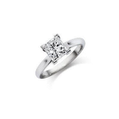 0.75 ct Princess cut Diamond Solitaire Ring, G-H, SI2