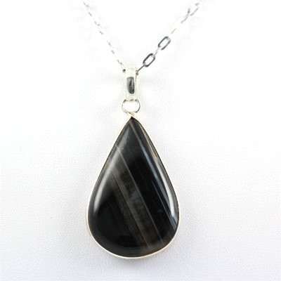 37.5ctw Stripped Onyx Silver Pendant