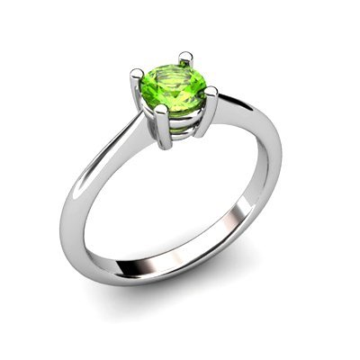 Peridot 0.50ctw Ring 14kt White Gold