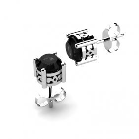 Black Diamond 1.00ctw Earring 14kt White Gold