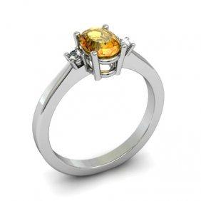 Citrine 0.85 ctw Diamond Ring 14kt White Gold