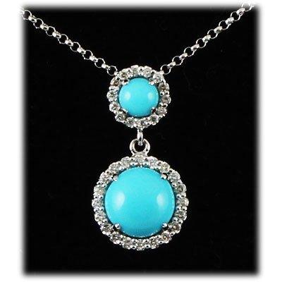 Genuine 1.87ctw Turguoise Diamond Necklace 14kt W/G