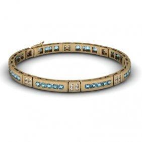 Topaz 2.56 ctw & Diamond Bracelet 14kt W OR Y Gold