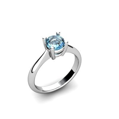 Aqua Marine 0.75ctw Ring 14kt White Gold
