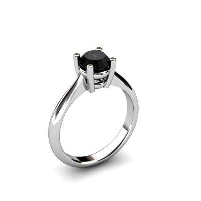 Black Diamond 0.85ctw Ring 14kt White Gold
