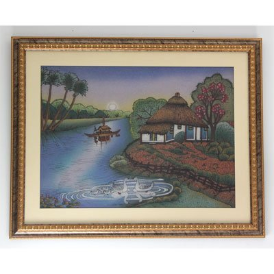 "30 1/2"" x 24 1/2"" A House in the Lake Gemstone Painting"