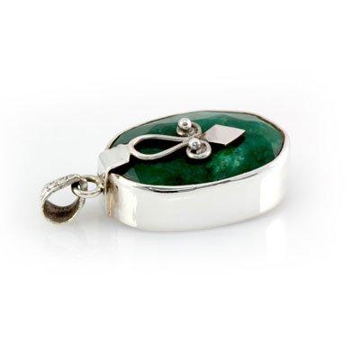 71ctw Unique Design Silver Emerald Pendant (20x30mm)