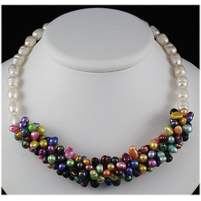 354.38ctw Freshwater Multi-color Crochet Pearl Necklace