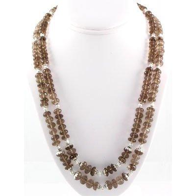 537.5ctw Smokey Quartz 2Row Silver Necklace