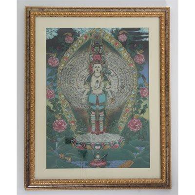 "24 1/2"" x 30 1/2"" Many Heads Buddha Gemstone Painting"
