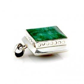 105ctw Big Emerald Silver Bezel Pendant (19x20mm)