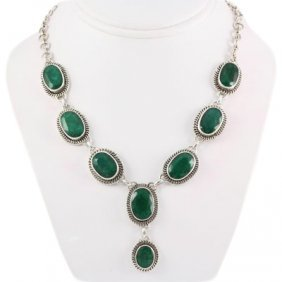267.5ctw Antique Silver Necklace W/ Emerald
