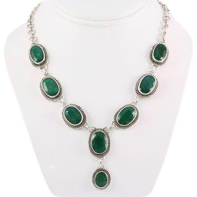 267.5ctw Antique Silver Necklace w/ Emerald