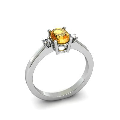 Citrine 0.45 ctw Diamond Ring 14kt White Gold