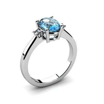 Aqua Marine 1.10 ctw Diamond Ring 14kt White Gold