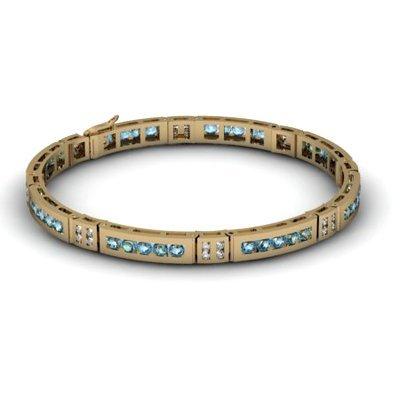 Aqua Marine 2.56 ctw Diamond Bracelet 14kt W OR Y Gold