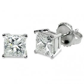 2.00 Ctw Princess Cut Diamond Stud Earrings I-J, SI2
