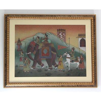 "30 1/2""x 30 1/2"" A Big Elephant & King Gemstone Paintin"