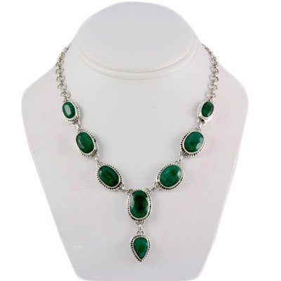 238ctw Natural Emerald Silver Necklace