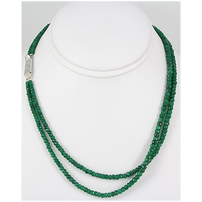 170.02ct 2 Row Micro Faceted Emerald Necklace