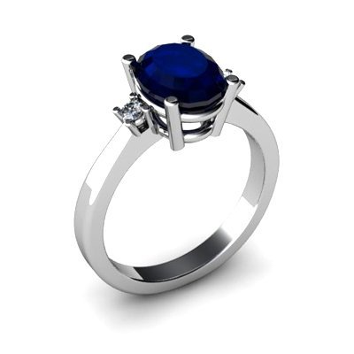 Sapphire 2.20 ctw Diamond Ring 14kt White Gold