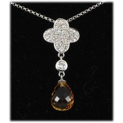 Genuine 3.53ctw Citrine Drop Diamond Necklace 14kt