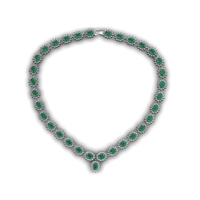 Emerald 49.23 ctw Diamond Necklace 14kt White Gold