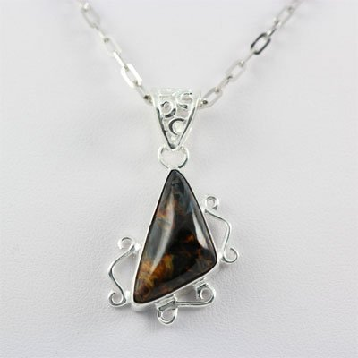 24.5ctw Iron Tiger Gemstone Silver Pendant