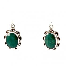 38.5ctw Unique Emerald Silver Earring