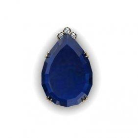 Sapphire Pear 108.78ctw Diamond Pendant 14k W/Y Gold