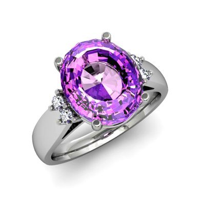 Amethyst 4.50 ctw & Diamond Ring 14kt White Gold