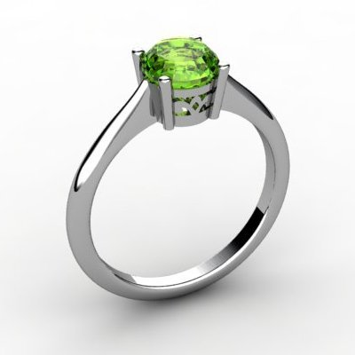 Peridot 0.85 ctw Ring14kt White Gold