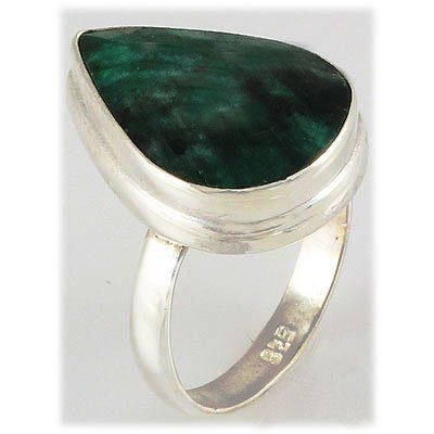 31.66ct Natural Pear Emerald Sterling Silver Ring