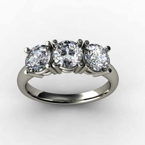 2.25 ctw Three Stone Diamond Brilliant Ring H, SI2