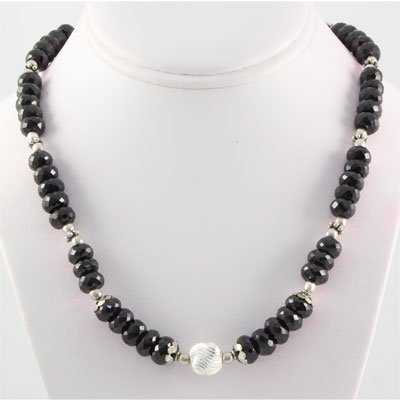 381.5ctw Faceted Black Onyx Silver Necklace