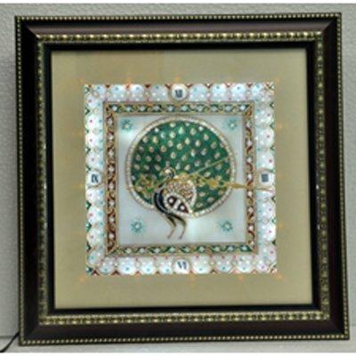 "Marble Wall Clock w/ Lights Inside size 9""x9"""
