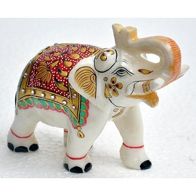 """Marble UpTrunk Elephant w/ Gold Plated Design 4""""x5"""""""