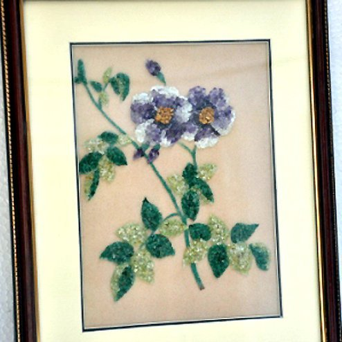 """2D Flower Natural Gemstone Painting size 13.5""""x16.5"""""""
