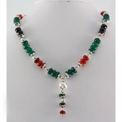 516ctw Emerald Black Onyx & Orange Topaz Silver Sets