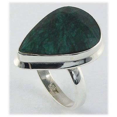 42.79ct Natural Pear Emerald Sterling Silver Ring