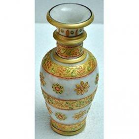 Marble Golden Color Flower Vase Size 9in.