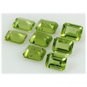Peridot 11.40 Ctw Loose Gemstone 8x6mm Emerald Cut