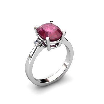 Ruby 3.31 ctw Diamond Ring 14kt White Gold